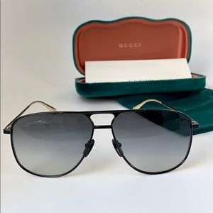 Gucci Pilot GG0336S-002 Black/Grey Polarized